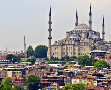 Blue Mosque and Istanbul, view from Bosporus strait