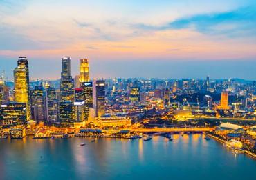 singapur desde el aire anochecer
