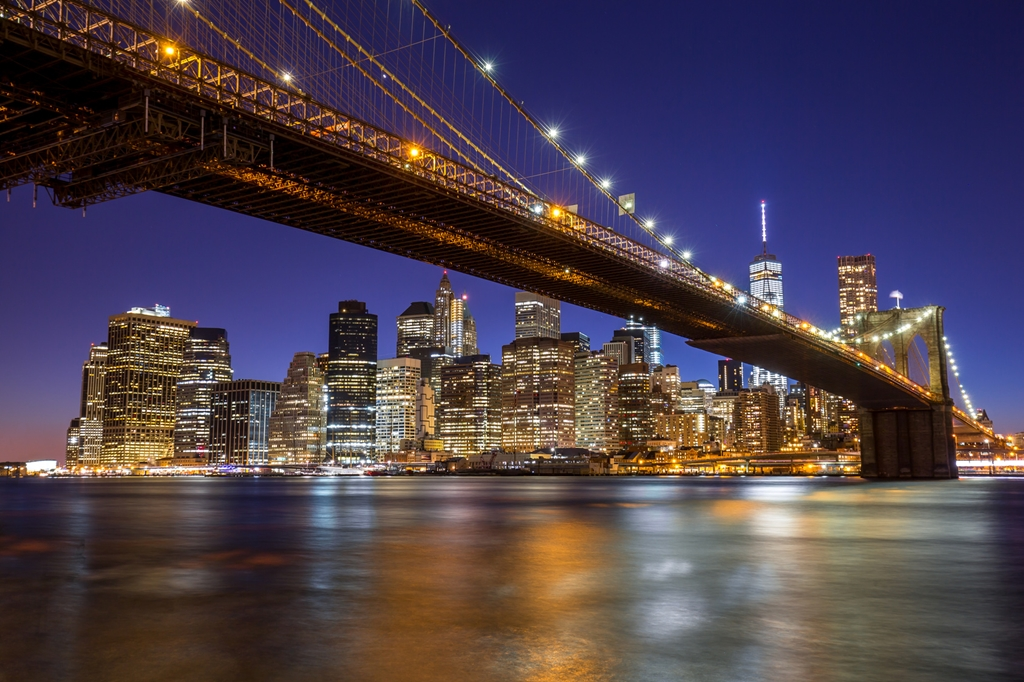Atardecer en el puente de Brooklyn