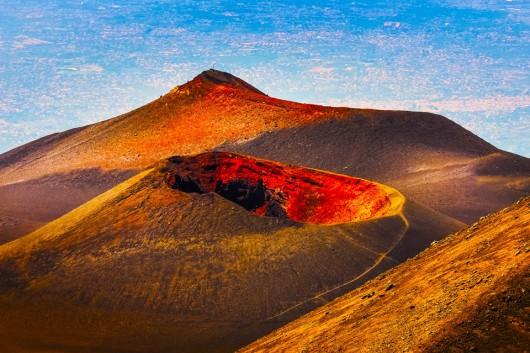 volcan etna al atardecer