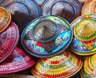 sombreros tailandeses de mimbre