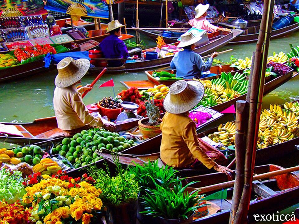 Mercadillo en Bangkok flotante
