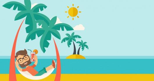 ilustración hombre disfrutando en la playa