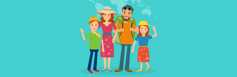 familia viajera ilustración