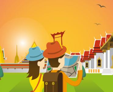 ilustración viajeros en Tailandia